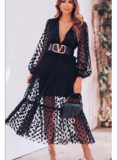 BLACK&GRACE Kadın Siyah Puantiye Detaylı Elbise Siyah